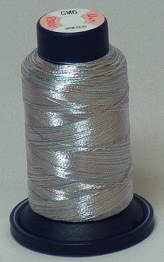 RAPOS-GM6 Variegated Multi-Color – Baby Blue, Pink and Silver Metallized Embroidery Thread Cone – 800 Meters