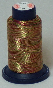 RAPOS-GM7 Variegated Multi-Color – Green, Red and Dark Gold Metallized Embroidery Thread Cone – 800 Meters
