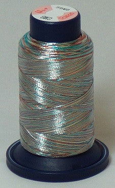 RAPOS-GM8 Variegated Multi-Color – Red, Silver and Teal Metallized Embroidery Thread Cone – 800 Meters