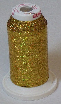 Gunold-6007 Gold Glitter Embroidery Thread Cone – 1,100 yards