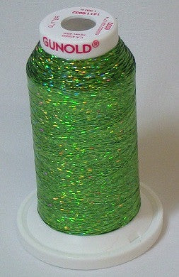 Gunold-6032 Green Glitter Embroidery Thread Cone – 1,100 yards