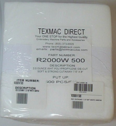 R2000W 8-inch Squares of White Polypropylene Cutaway Backing – 500 Pack
