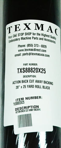 "ActionBack Cut Away Backing 25yds x 20"" Black"
