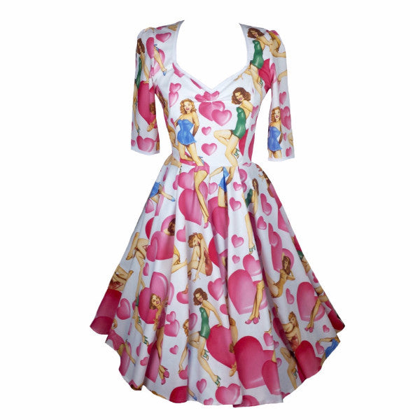 Elegant Pin Up Girl 1950s Sweet Heart Swing Dress with Sleeves