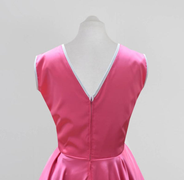 Pink Satin Bridesmaid Dress | 60s style bridesmaid dress | Fullilove Designs
