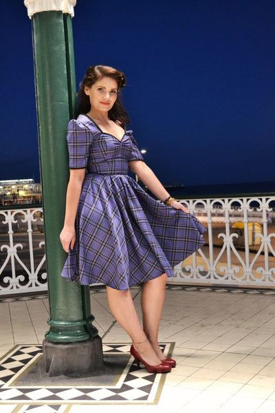 Tartan Swing Dress with Sleeves