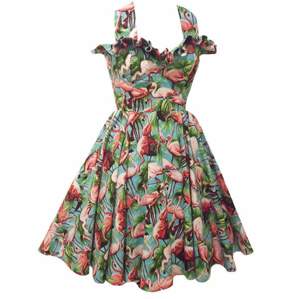 Flamingo Pin Up Swing Dress with Frill
