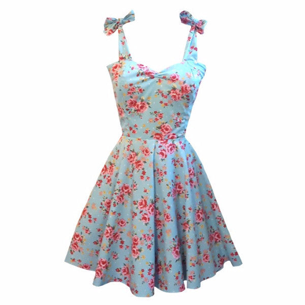 Rose Floral 1950s Rockabilly Bridesmaid 50s Style Plus Size Swing Dress Made in Uk by Fullilove Designs
