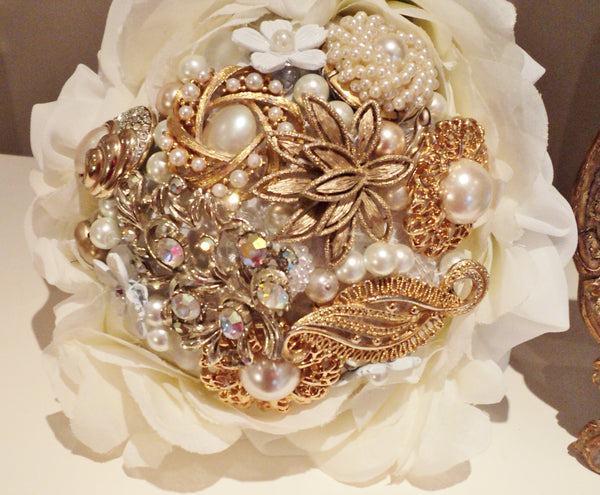 Gold & Pearl Timeless Vintage Brooch Bouquet Bridal