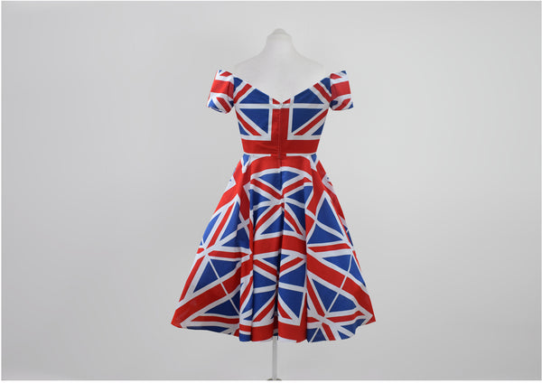 Union Jack off the shoulder swing dress