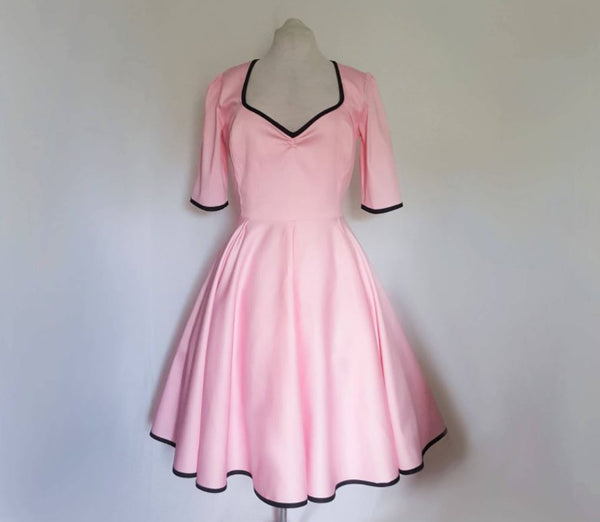 Pink bridesmaid tea length dress with sleeves | Plus size bridesmaid | Fullilove Designs