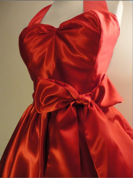 Red Satin Bridesmaid Dress- 50s style-Fulliove Designs