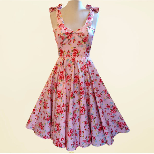 Floral Rose 1950s Rockabilly Bridesmaid 50s Style Plus Size Swing Dress Made in Uk by Fullilove Designs