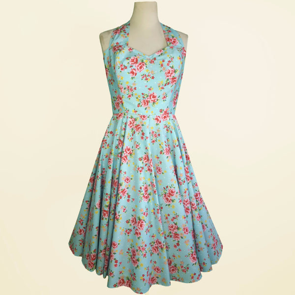 Blue floral Bridesmaid Dress UK | Summer Bridesmaid Dress | Bridesmaid tea dress | Fullilove Designs