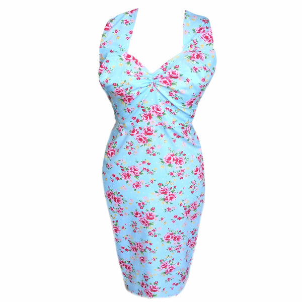 Timeless Rose Floral 1950's Wiggle Dress