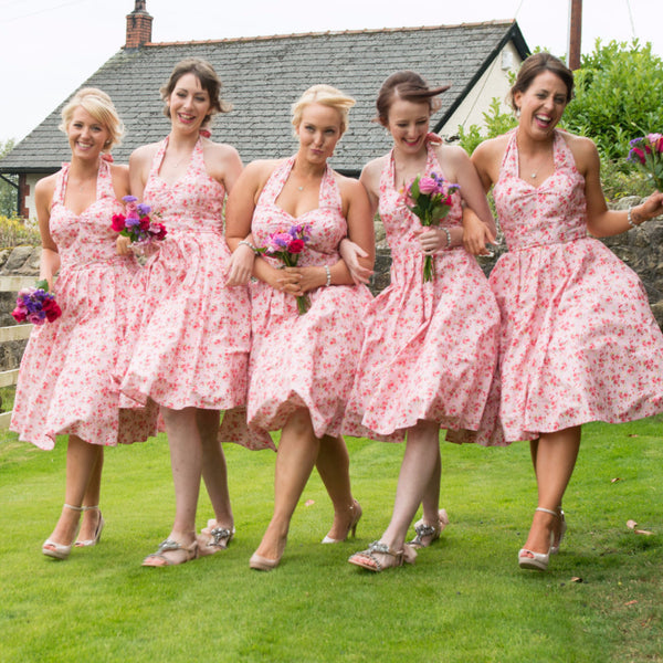 Fullilove Designs Floral Bridesmaid Swing Dress Vintage Wedding 50s style Bridesmaids dress bespoke