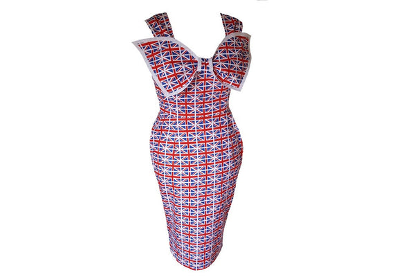 Union Jack Small Flag 1950s Wiggle Dress