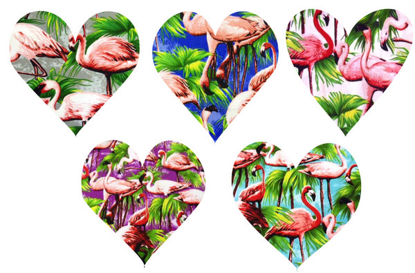 Choice of flamingo fabrics for 1950s inspired dresses by Fullilove Designs