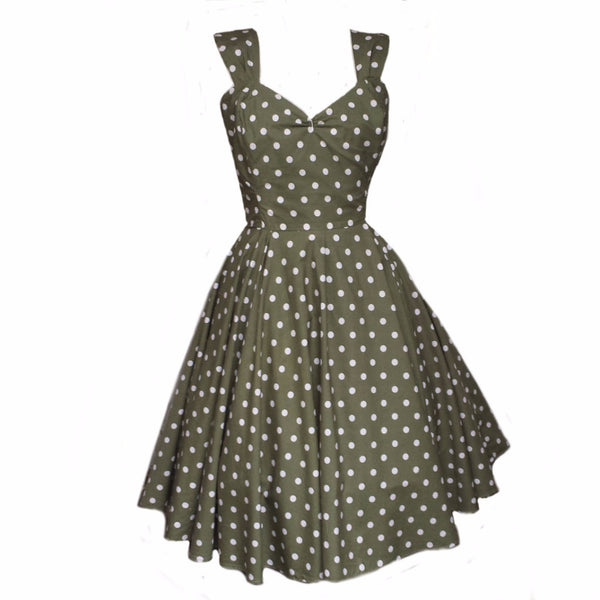 Polka Dot Summer Dress 1950s Rockabilly Bridesmaid 50s Style Plus Size Swing Dress Made in Uk by Fullilove Designs