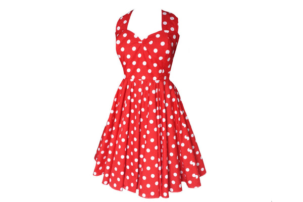 Red Polka Dot Swing Dress 50s style Bridesmaids dress bespoke by Fullilove Designs