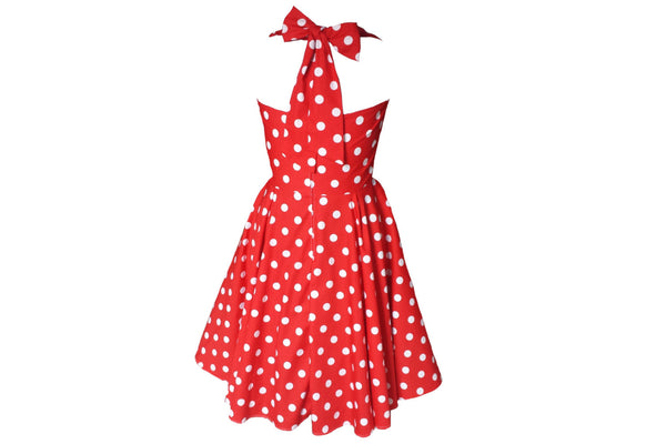 Red Polkadot 1950s Rockabilly Bridesmaid 50s Style Plus Size Swing Dress Made in Uk by Fullilove Designs