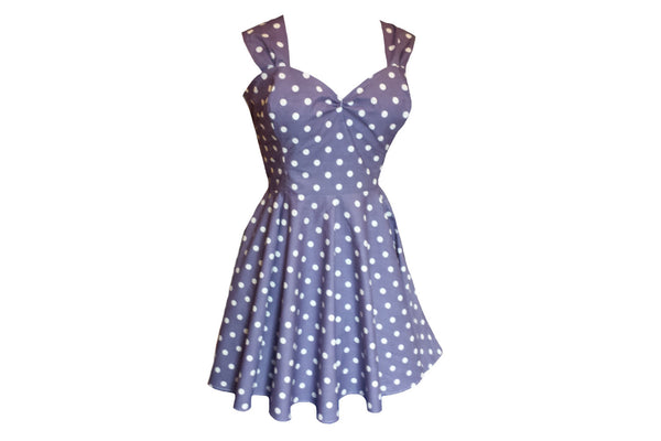 Navy Blue Polka Dot 1950s Wedding Style Vintage Bridesmaids Dresses Custom Made in UK by Fullilove Designs