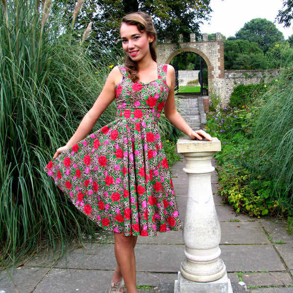 Leopard Print Jungle Rose 1950s Swing Dress by Fullilove Designs