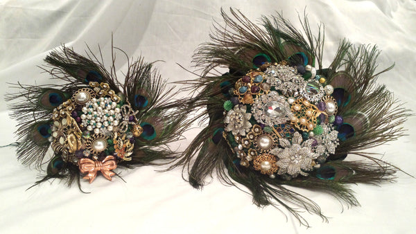 Peacock Feather Vintage Brooch Bouquet Bridal