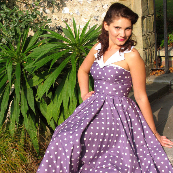 by Fullilove Designs a Polka dot Swing Circle Dress 1950s 1940s collar Vintage wedding