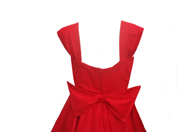 Classic Red 1950s Rockabilly Bridesmaid 50s Style Plus Size Swing Dress Made in Uk by Fullilove Designs