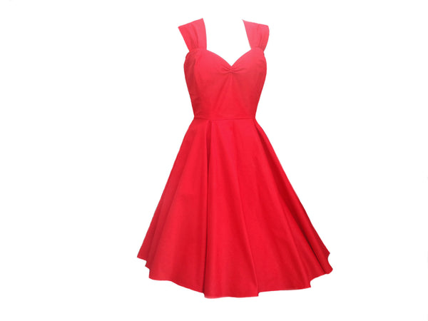 Classic Red Vintage Wedding 50s style Bridesmaids dress bespoke by Fullilove Designs
