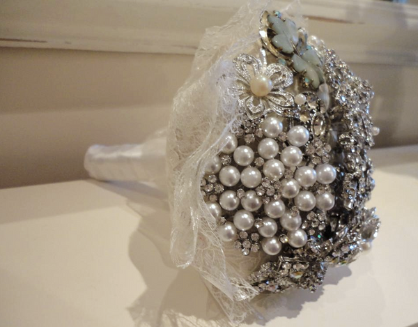 Wedding Brooch Bouquet - Bridal Silver & Pearl