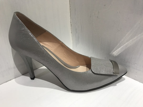 Emis Silver Shimmer Court Shoe - MJ Shoes