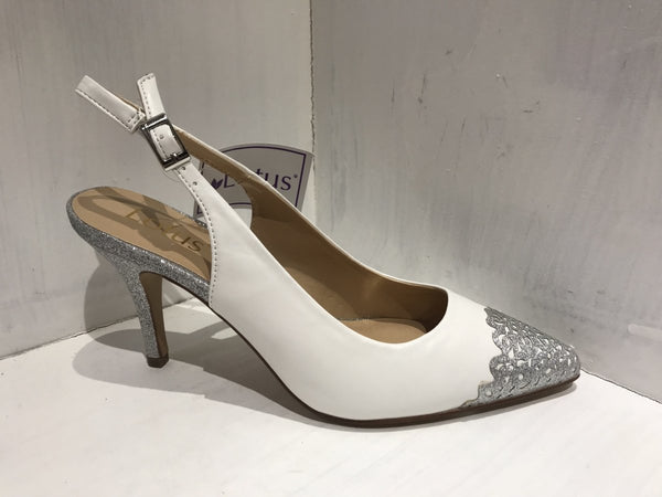Lotus Arlind White/Silver Slingback - MJ Shoes