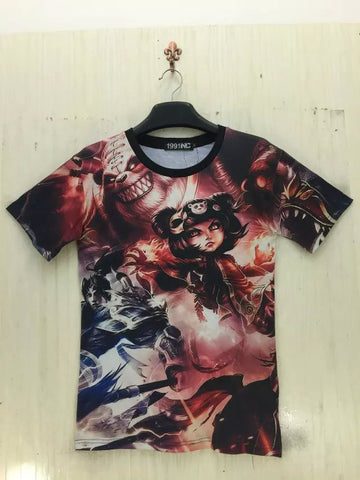 Camiseta Full Print Unisex Annie e Xin Zhao League of Legends