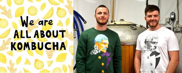 Keith and Emmet from All About Kombucha wearing Guardian by Grey and Ginger