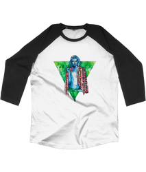 Grey and Ginger Outlaw Raglan, white  with black 3/4 length sleeves