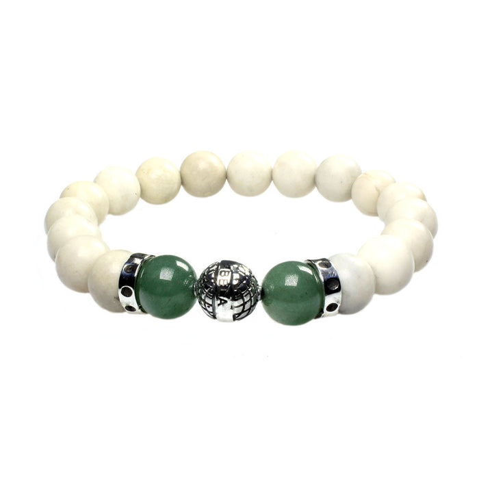 MENS LUXURY BRACELET B10 (mm) - FOSSIL, AVENTURINE & STERLING SILVER