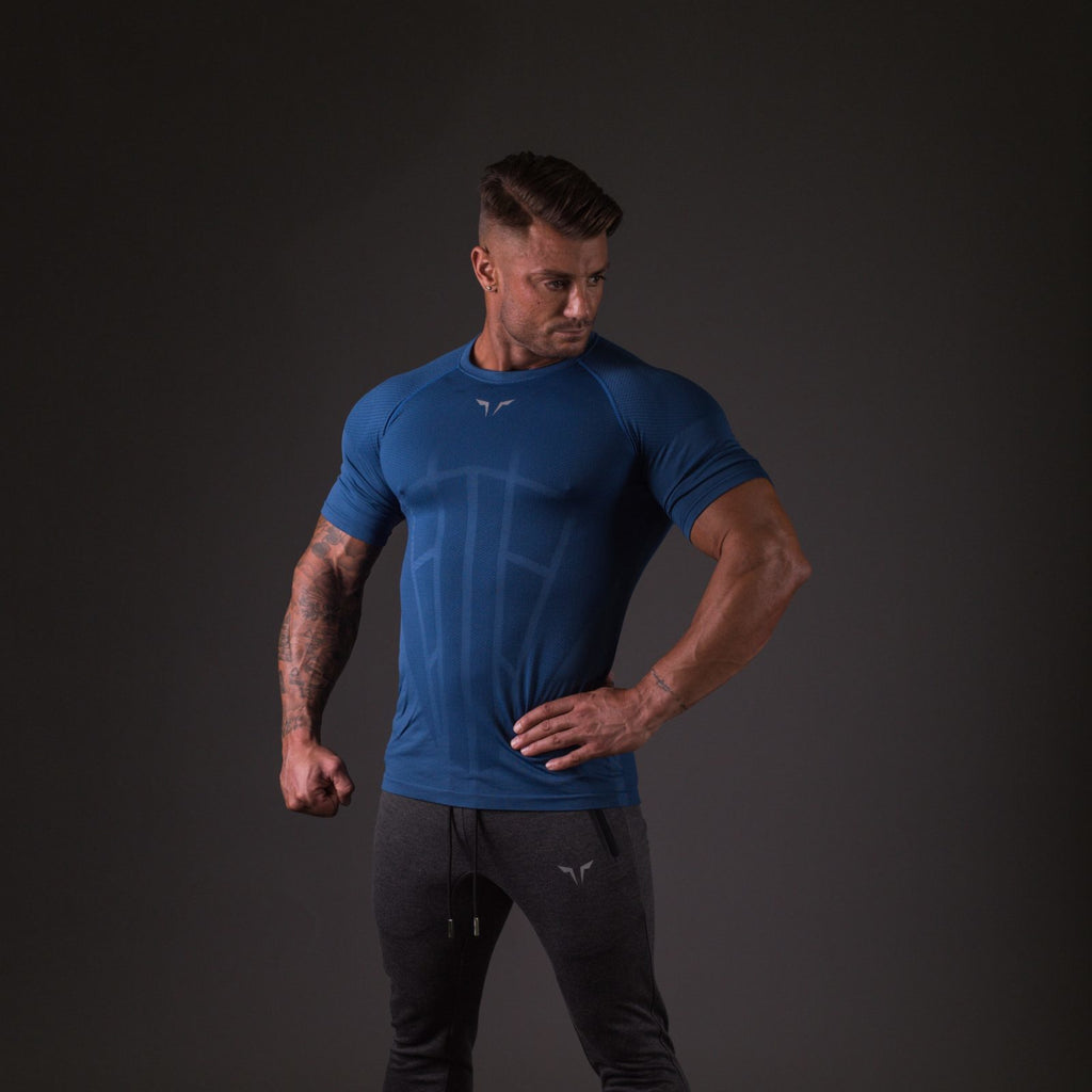 SQUAT WOLF GYM MUSCLE SEAMLESS SPYDER TEE HALF SLEEVE - BLUE