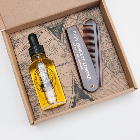 CAPTAIN FAWCETT - BEARD OIL & FOLDING POCKET BEARD COMB