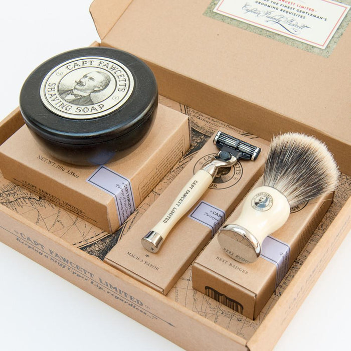 CAPTAIN FAWCETT - SHAVING BRUSH, RAZOR & SHAVING SOAP GIFT SET