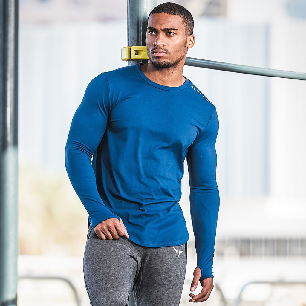 SQUAT WOLF GYM MUSCLE TEE FULL SLEEVE - BLUE