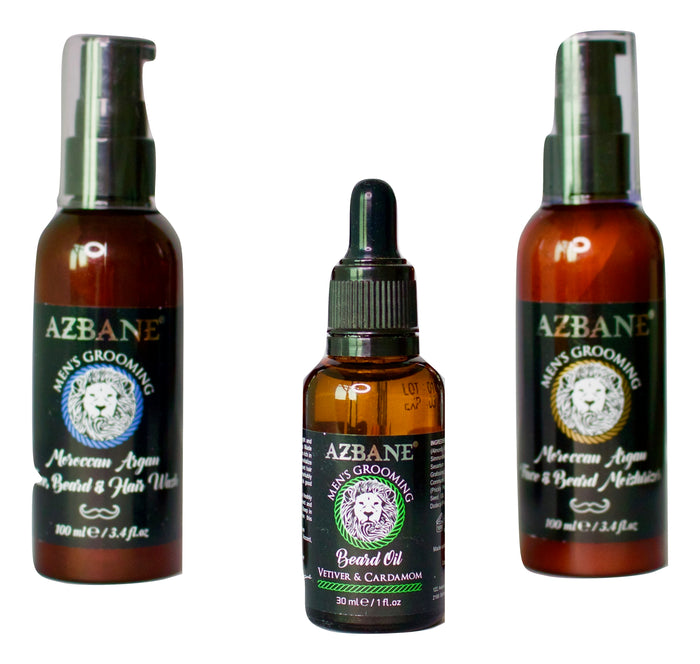 AZBANE BEARD & SKIN KIT WITH OIL, WASH & MOISTURISER