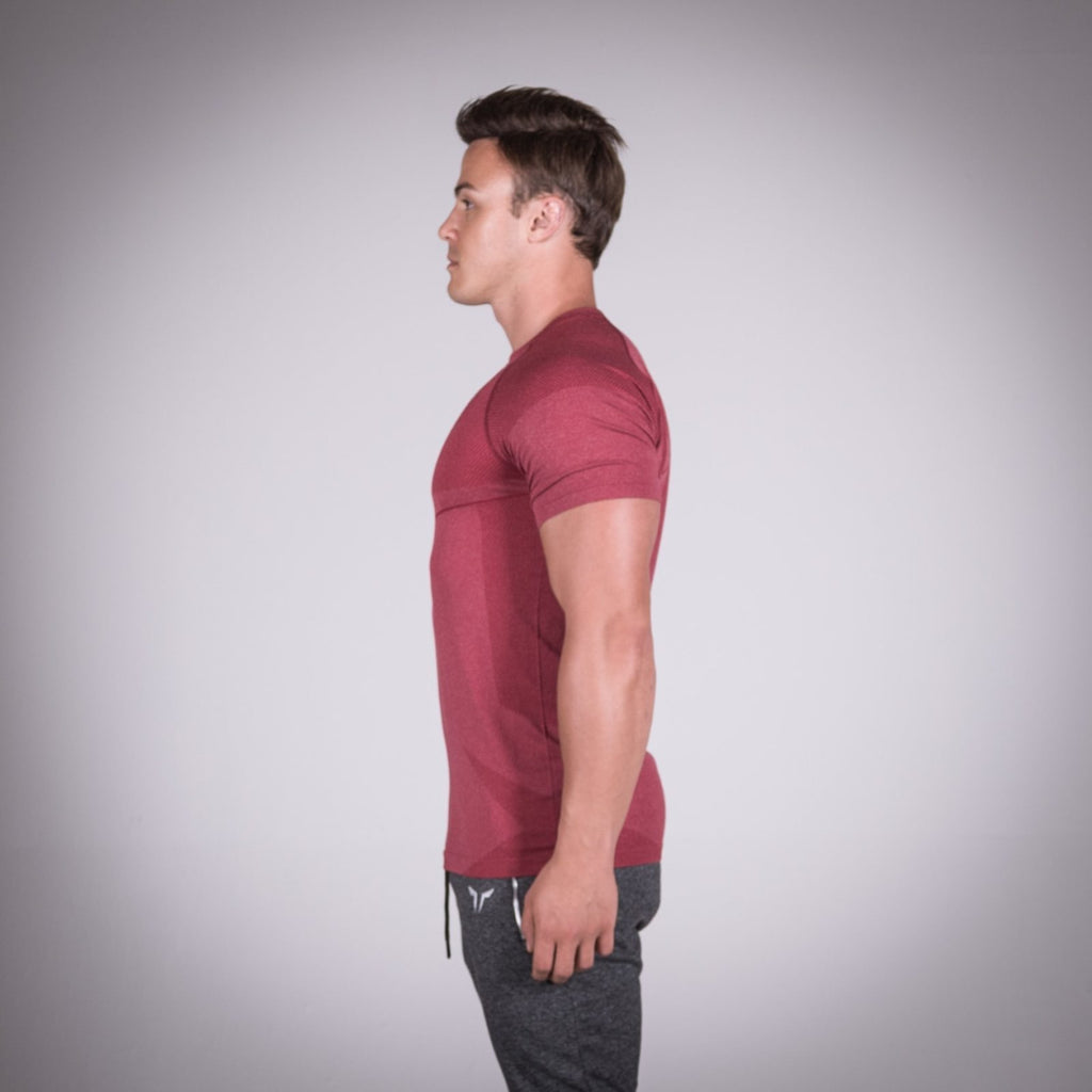 SQUAT WOLF GYM MUSCLE SEAMLESS DRY KNIT HALF SLEEVE - BALI RED