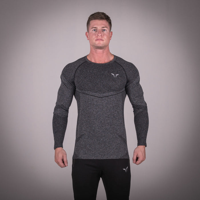 SQUAT WOLF GYM MUSCLE SEAMLESS DRY KNIT TEE FULL SLEEVE - MELANGE GREY
