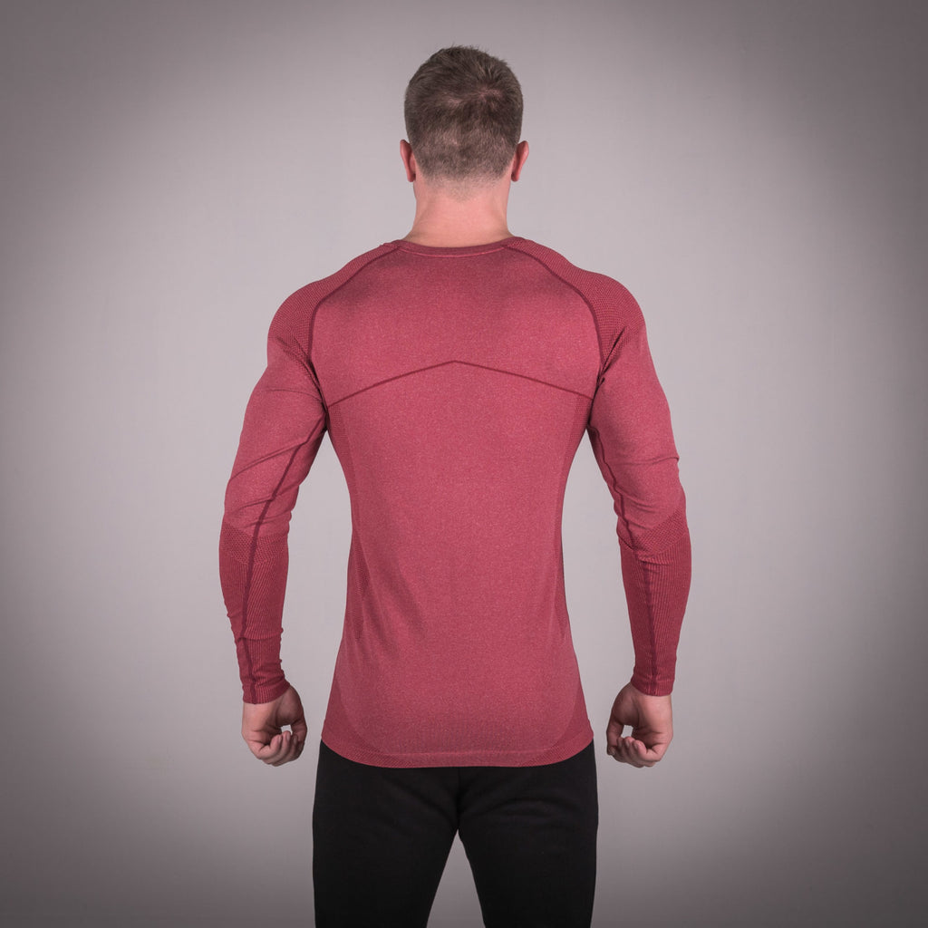 SQUAT WOLF GYM MUSCLE SEAMLESS DRY KNIT TEE FULL SLEEVE - BALI RED