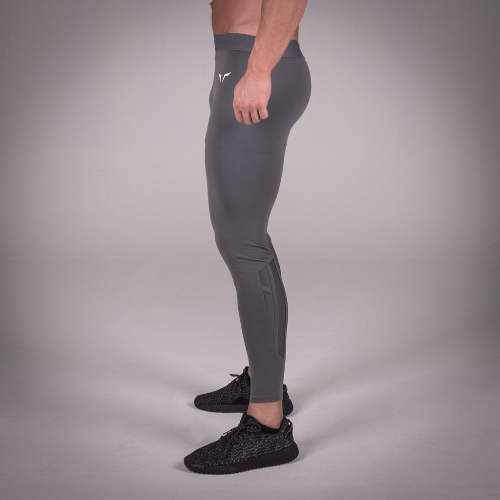 SQUAT WOLF GYM MUSCLE X-LEGGINGS COMPRESSION TIGHTS - GREY