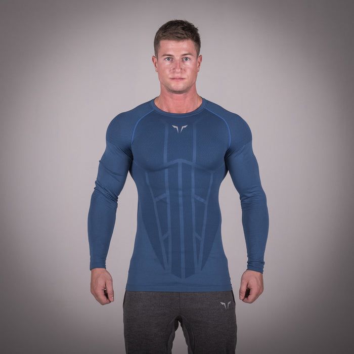 SQUAT WOLF GYM MUSCLE SEAMLESS SPYDER TEE FULL SLEEVE - BLUE
