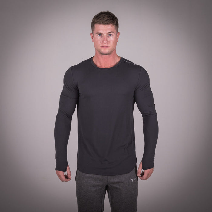 SQUAT WOLF GYM MUSCLE TEE FULL SLEEVE - BLACK