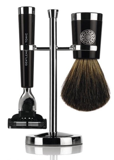 GENTLEMEN'S TONIC SAVILE ROW RAZOR & BRUSH SET - EBONY FUSION